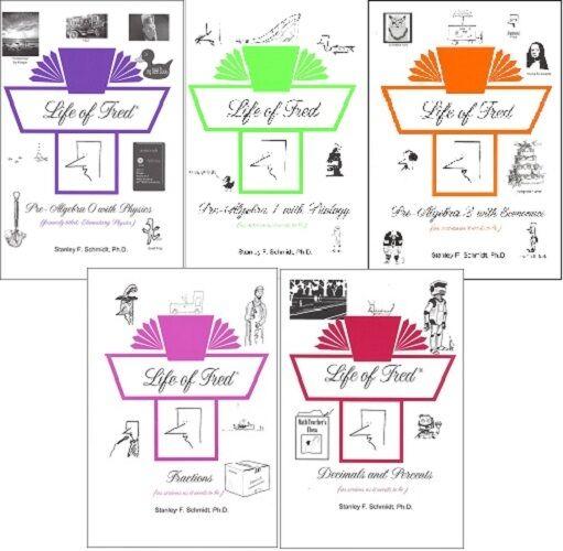 Life of Fred 5-vol SET Fractions, Decimals, Pre-Algebra 0, 1 and 2