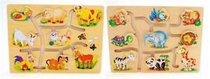 Enfants-Bois-Match-The-Tete-Animaux-Jeu-Puzzle-Jouets-Pedagogique-Marrant