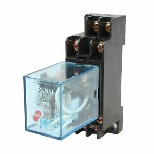 HH52P-110-120VAC-Coil-DPDT-8-Pins-Electromagnetic-Power-Relay-w-DYF08A-Base-AD
