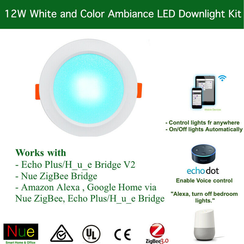 10 x 12W Smart LED Downlight Kit - Remote APP, Alexa Google Home Voice Control