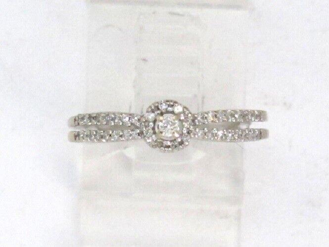 10k White gold Round Diamond Wedding Engagement Promise Ring .63ct