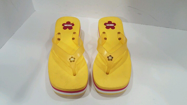 Skechers Womens Yellow Rubber Flip 8 Flops Size 8 Flip c53a0b