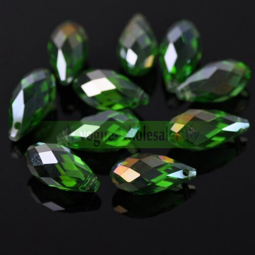 10//30pcs 20x10mm Faceted Teardrop Glass Crystal Loose Spacer Beads Jewelry DIY