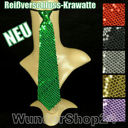 Ausgefallene Reißverschluss-Krawatte Damen Herren Krawatte mit Pailletten 35 cm