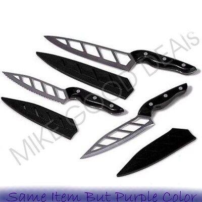 Simply Ming 6-piece Aero Knife Gourmet Set With Sheath Knives Set Chop Purple