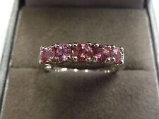 18ct White Gold Ceylon Padparadscha Pink Sapphire Ring Size N