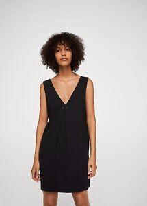 GroupPiercing Detail New Dress Black Shift Mangozara nm8wOvN0