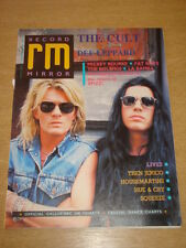 RECORD MIRROR 1987 OCT 3 CULT DEF LEPPARD MICKEY ROURKE FAT BOYS LA BAMBA