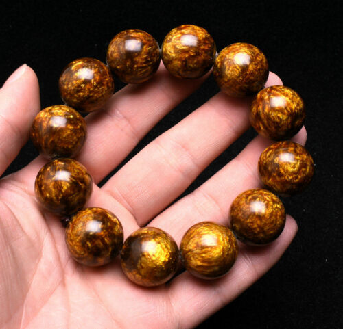 Genuine Golden Black Coral Sea Willow Bracelet Beads 20 mm