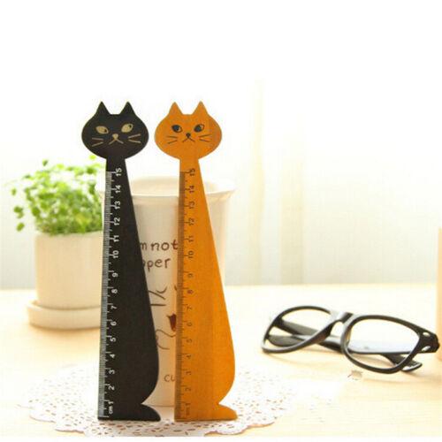 Black Korea Kawaii Cat Kitty Face Stationery Wood Ruler Sewing Ruler JlBLC/'TOBB