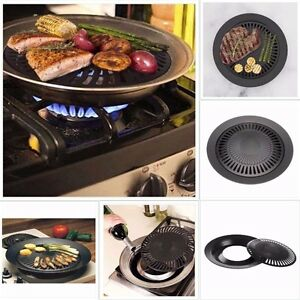 Kitchen Smokeless Stove Top Barbecue BBQ Indoor Grill Nonstick Pan ...