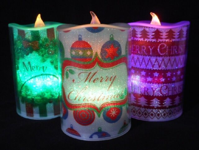3 x colour changing christmas candles xmas lightup flickering pillar candle 45 - Battery Operated Christmas Candles