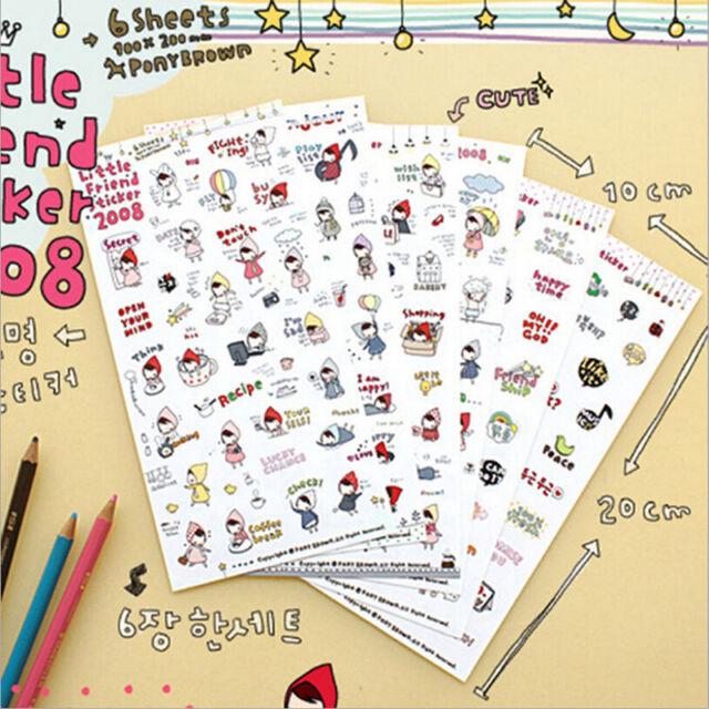 6* Kawaii My Little Friend Schedule Diary Calendar Filofax Decoration Sticker FS