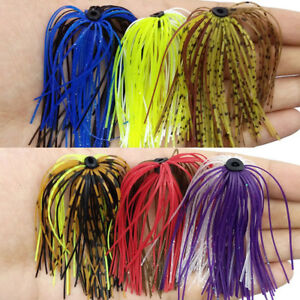 12 Bundles 50 Strands Silicone Bass Jig Skirts DIY Rubber Fishing Jig Lure Mixed