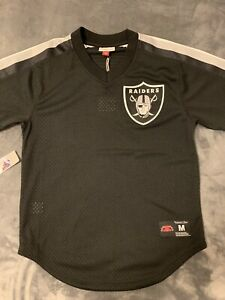 new product 67879 b2925 Details about Oakland Raiders Size M Men Mitchell And Ness V Neck Jersey  Shirt NFL Baseball