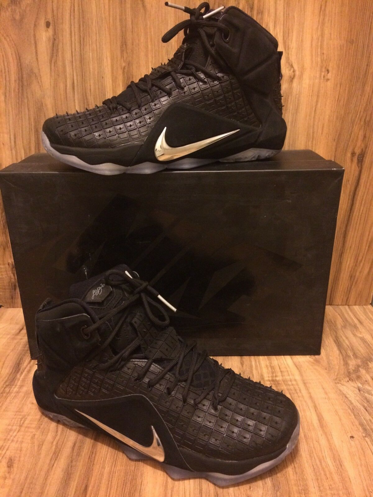 8c452128e31d RARE Lebron XII 12 EXT RC QS Black Chrome-Black Rubber Rubber Rubber ...