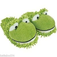 Kids One Size Fuzzy Green Frog Slipper Clog Up To Sz 3