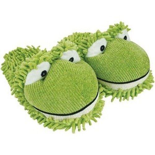 KIDS ONE SIZE Fuzzy GREEN FROG Slipper Clog up to sz 3 No skid sole Chenille fuz
