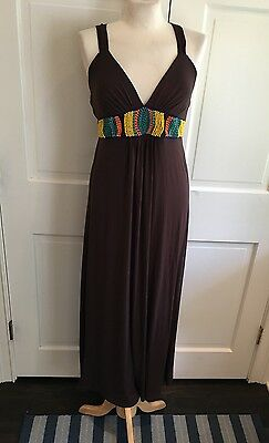 LA BELLE Brown Beaded Maxi Summer Dress Sz Large