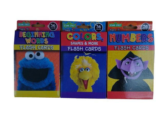 Sesame Street Flash Cards Educational Early Learning Colors Shapes ABCs Numbers
