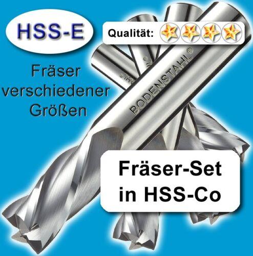 Fräsersatz 3-4-5-6-8-10mm HSS-Co für Metall Kunststoff Holz etc Z=3