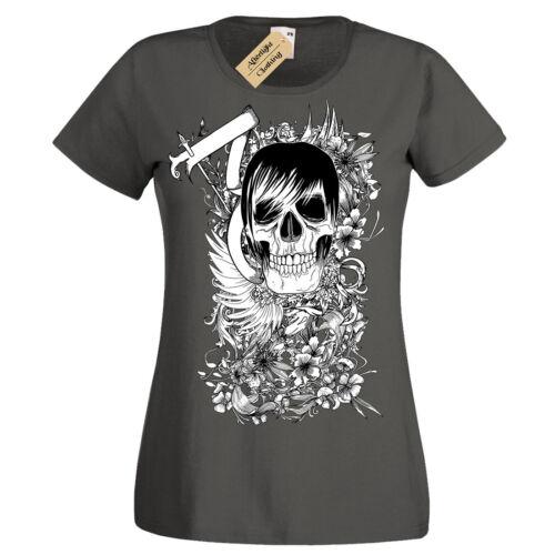 Skater Totenkopf Punk Emo Skelett Blumenmuster T-Shirt Damen