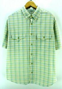 Woolrich-Men-039-s-Shirt-Size-L-Multi-Color-Checkered-Short-Sleeve-Cotton-CD1559