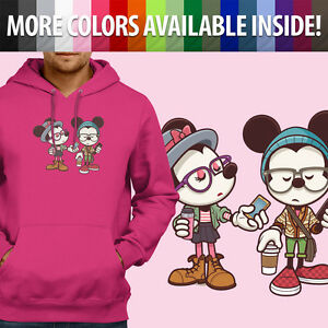 Disney-Hipster-Mickey-amp-Minnie-Mouse-Couple-Love-Pullover-Hoodie-Hooded-Sweater