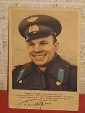 SOVIET ASTRONAUT Yuri Gagarin Signed Print Vintage SPACE POSTCARD  1961 year