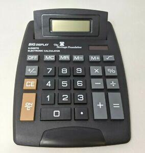 Black Big LCD Display 8 Digits Flip Up Electronic Calculator Solar Powered TT20