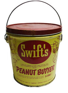 VINTAGE-SWIFT-039-S-PEANUT-BUTTER-TIN-WITH-HANDLE-5-LBS-RARE-CHICAGO-CANCO