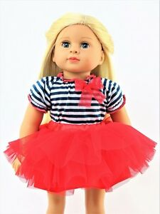 Red-White-Blue-Striped-Skirt-Tutu-Outfit-Fits-American-Girl-18-034-Doll-Clothes