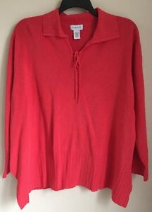 AVENUE-Plus-Size-4X-26-28-Top-Blouse-Coral-Orange-Red-Sweater-Knit-Christmas-NEW