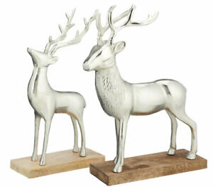 Hirsch-Figur-XL-auf-Holz-Aluminium-Weihnachtsdeko-Silber-Skulptur-ca-43-49-cm
