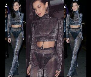 Mujer Brillo Malla Transparente Palazzo Fiesta Pantalones 2 Piezas Set Largo Top Ebay