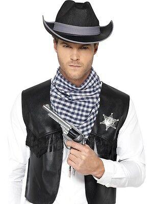 Unisex Cowboy Fancy Dress Leather Look Black Cowgirl Waistcoat with Badge w