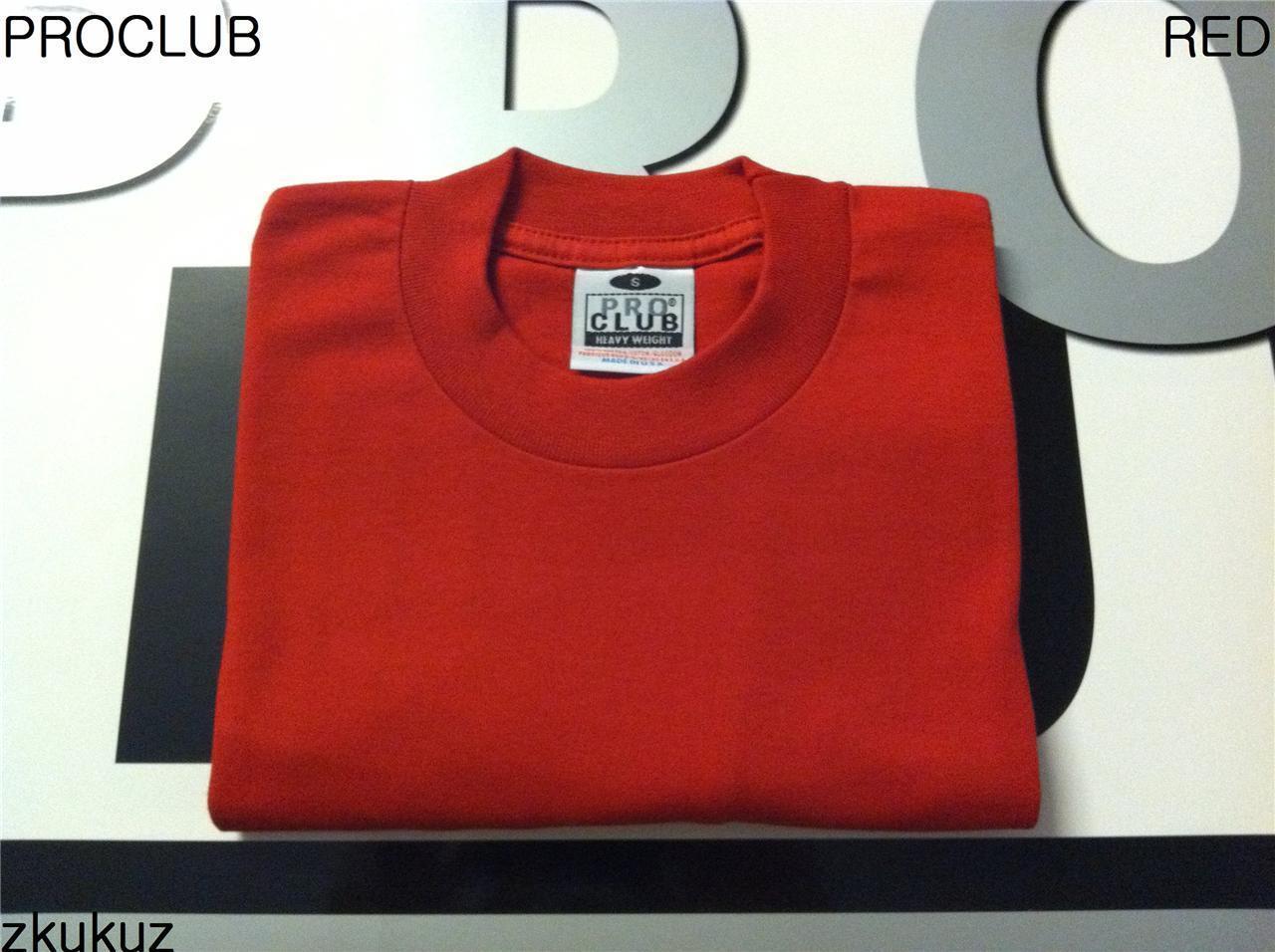 6 NEW PROCLUB HEAVY WEIGHT T-SHIRT RED PLAIN PRO CLUB BLANK S-5XLT 6PC