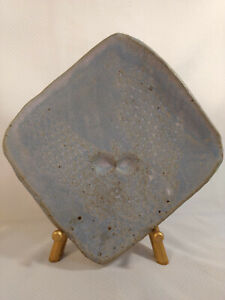 Vintage Signed Studio Art Stoneware Pottery Handmade Plate Platter Blue Glazed