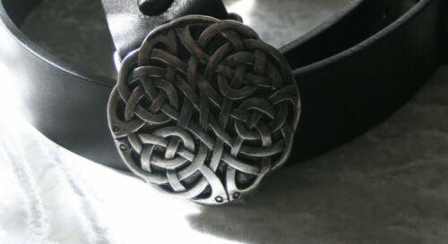 Gothique Moyen Âge Ceinture Buckle Altsilber Celtes Cuir Noir Neuf