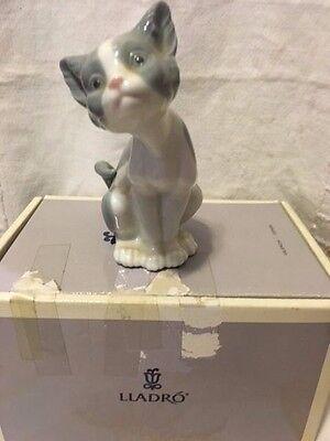 L@@K! Lladro 5114 Surprised Cat Retired Excellent Condition!Original Grey Box