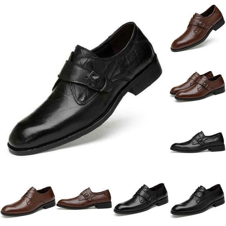 Men's Buckle Wedding Party Leather Lace Up Flats Groomsman Business Formal Dress