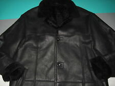Bernini Beverly Hills Black Leather Shearling Wool Button Down Jacket Mens 42
