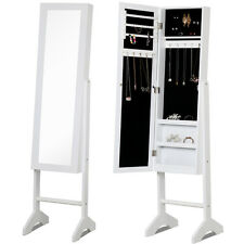 Good White Mirror Jewelry Cabinet Armoire W/ Stand Mirror Rings, Necklaces,  Bracelets