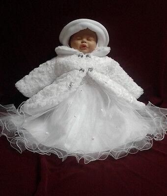 Objective Mantel Wintermantel Kleid Mütze Hose Taufe Baby Taufmantel Taufkleid Winter Set