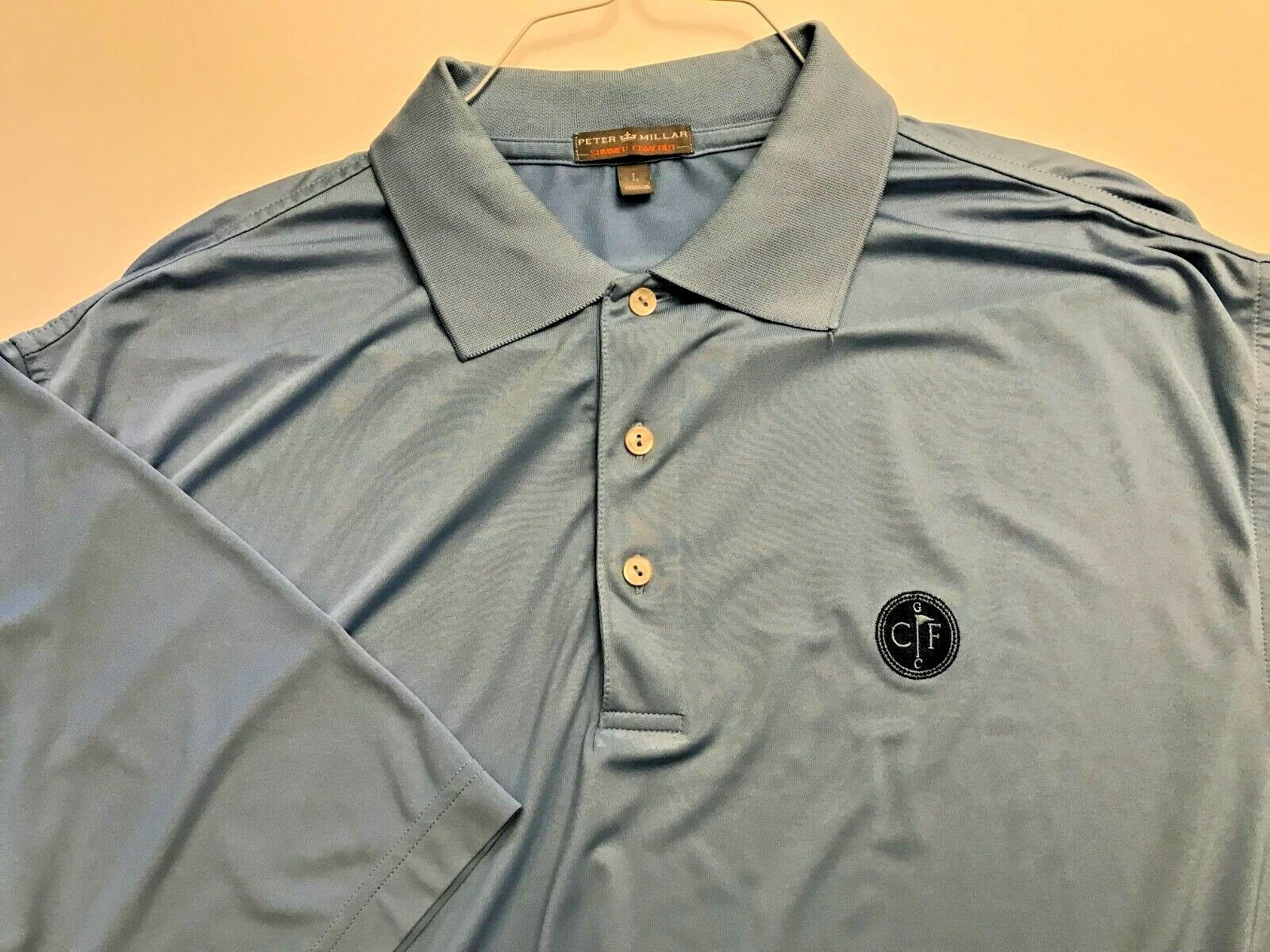 53ee0059ab2 PETER MILLAR SUMMER COMFORT blueE 92% POLY POLO SHIRT CONWAY FARMS ...