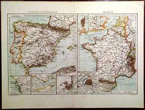 Cartina Della Spagna Geografica.Carta Geografica Antica Spagna Spain Portogallo Francia France 1900 Old Map Ebay