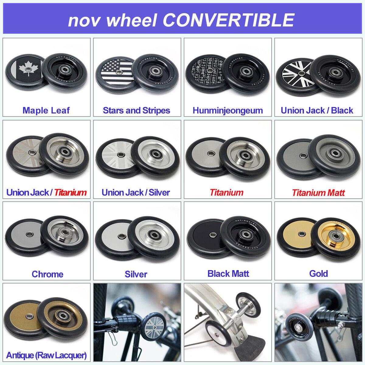 Nov wheel CONgreenIBLE set  for R-type Brompton (4pcs nov wheel) [novdesign]  amazing colorways