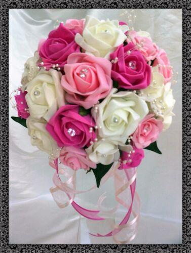 Brides,Bridesmaids,Wedding Bouquet Flowers Fuschia//Light Pink//Ivory