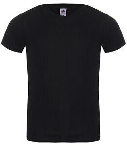 5-T-Shirts-V-Ausschnitt-Fruit-of-the-Loom-schwarz-Gr-M