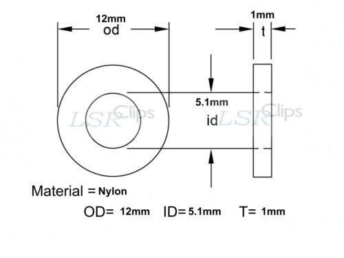 Ducati écran Carénage Boulon Nylon Rondelles M5 5.1 mm ID 12 mm OD 1 mm